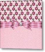 Pink Flowered Hearts  Metal Print
