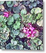 Pink Flowers Painting Metal Print