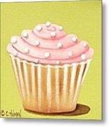 Pink Fluff Cupcake Metal Print
