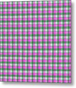 Pink Green And White Plaid Pattern Cloth Background Metal Print
