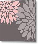 Pink Grey Peony Flowers Metal Print