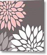 Pink Grey White Peony Flowers Metal Print