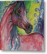 Pink Horse With Blue Mane Metal Print