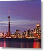 Pink Hour On Toronto Skyline Panorama Metal Print