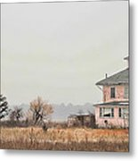 Pink House On The Marsh Metal Print