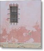 Pink House With Black Iron Metal Print