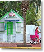 Pink Lady And The Conch Shop  Metal Print by Rebecca Korpita