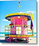 Pink Lifeguard Post Metal Print