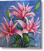 Pink Lilies Metal Print by Terri Maddin-Miller