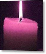 Pink Lit Candle Metal Print