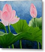 Pink Lotus On Blue Sky Metal Print