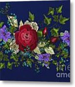 Pink Metallic Rose On Blue Metal Print