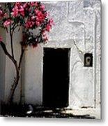 Pink Oleander By The Door Metal Print