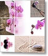Pink Orchid And Buddha Collage Metal Print