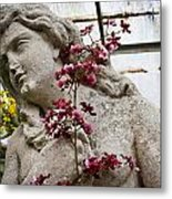 Pink Orchid And Statue Metal Print