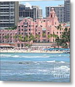 Pink Palace On Waikiki Beach Metal Print