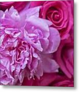 Pink Peonies And Pink Roses Metal Print