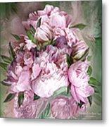 Pink Peonies Bouquet - Square Metal Print