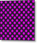 Pink Polka Dots On Black Fabric Background Metal Print
