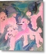 Pink Poodle Polka Metal Print