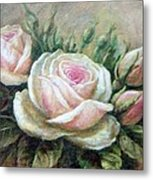 Pink Rose And Rose Buds II Metal Print