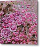 Pink Rose Birdies Metal Print