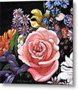 Pink Rose Floral Painting Metal Print