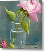 Pink Rose In Glass Metal Print