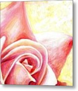 Pink Rose Panel Two Of Four Metal Print