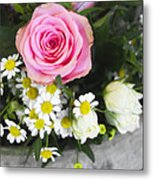 Pink Rose With Daisies Metal Print