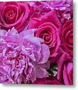 Pink Roses And Peonies Please Metal Print