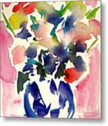 Pink Roses In A Blue Vase Metal Print