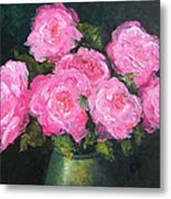 Pink Roses In A Brass Vase Metal Print