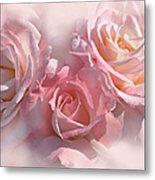 Pink Roses In The Mist Metal Print