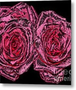 Pink Roses With Dark And Rough Chrome  Effects Metal Print