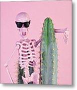 Pink Skeleton With Cactus Metal Print