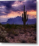 Pink Skies At The Superstitions Metal Print