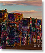 Pink Sky At Cadillac Ranch Metal Print