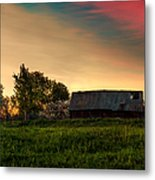 Pink Sunrise. Old Barn An Cherry Blossom Metal Print