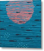 Pink Sunset And Fish Underwater Cartoon Metal Print