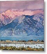 Pink Sunset On Taos Mountain Metal Print