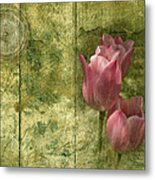 Pink Tulips And Old Clock Metal Print