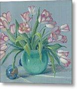 Pink Tulips In Green Vase Metal Print