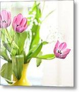 Pink Tulips In Yellow Vase Metal Print