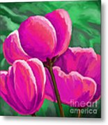 Pink Tulips On Green Metal Print