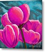 Pink Tulips On Teal Metal Print