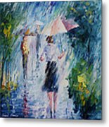 Pink Umbrella - Palette Knife Oil Painting On Canvas By Leonid Afremov Metal Print
