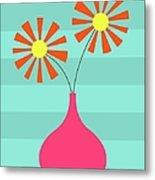 Pink Vase On Blue Metal Print