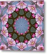 Pink Weeping Cherry Blossom Kaleidoscope Metal Print