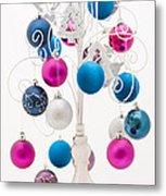 Pink White And Blue Christmas Metal Print